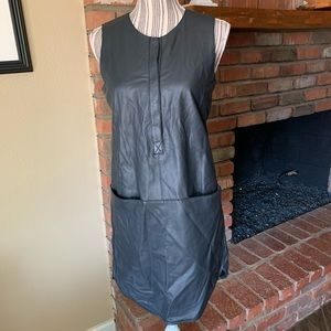 NWT Rebecca Taylor Runway Leather Dress Carbon 6